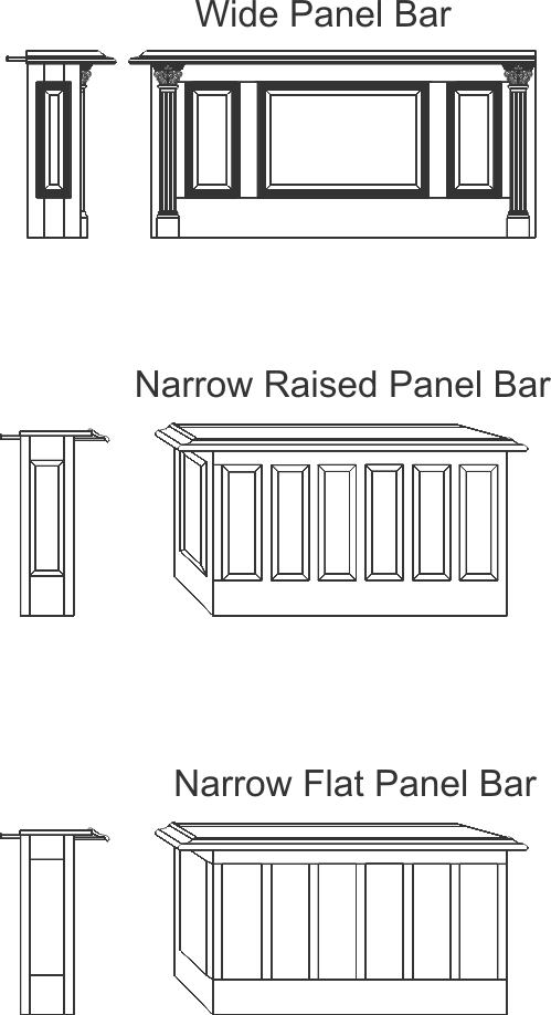 bar layout designs by the wood works